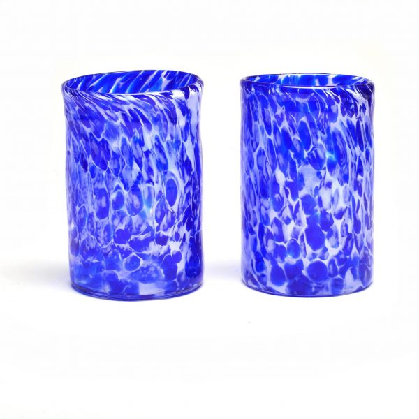 cobalt blue and white handmade hand blown glass tumbler or cup