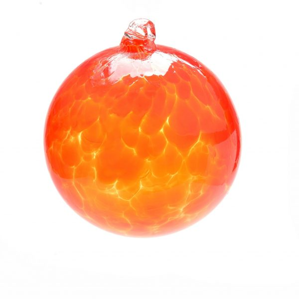 orange christmas glass ornament, glass blowing ornament