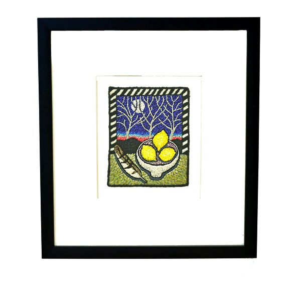"Gaskin Framed Embroidery - ""Three Lemons"""