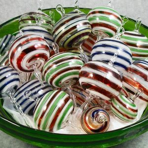 handmade red white and green glass ornaments, hand blown glass