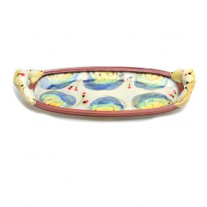 long handmade ceramic tray with handpainted colors