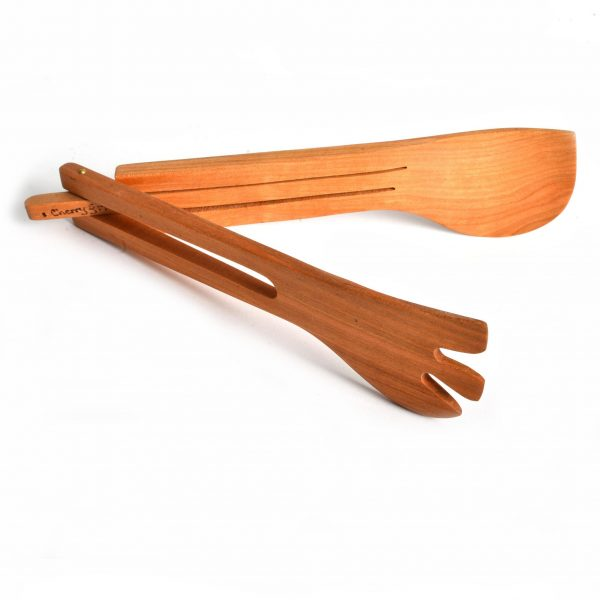 handmade wooden salad tongs, handmade kitchen gadget