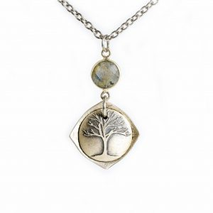 handmade sterling silver locket with grand oak tree and strength inside, moonstone necklace locket