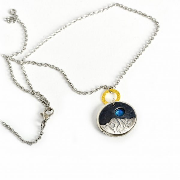 i love you to the moon and back jewelry, moon stone mixed metal locket necklace,