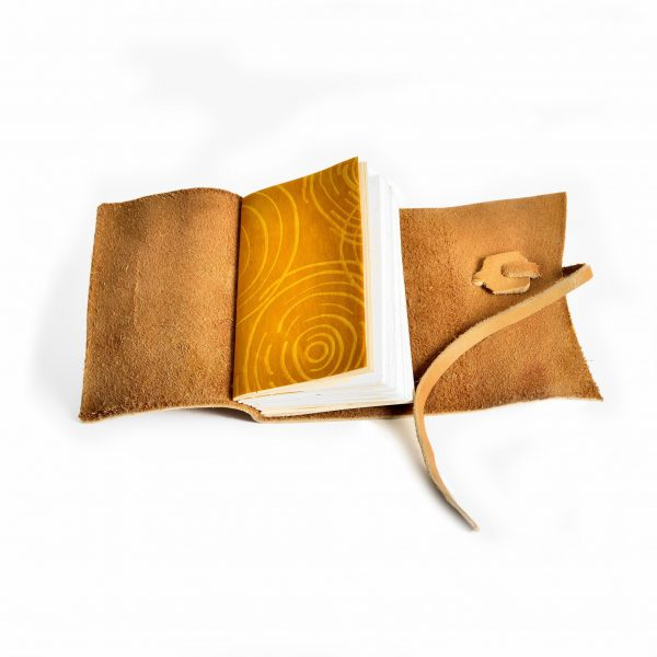 tan leather handmade journal, sewn pages handmade paper, artist notebook, college bound, asheville paper artist