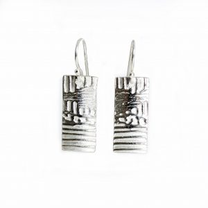 rectangle sterling silver stamped textured earrings