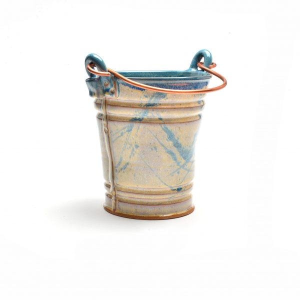 cream and blue pottery bucket, handmade utensil jar, unique kitchen decor,
