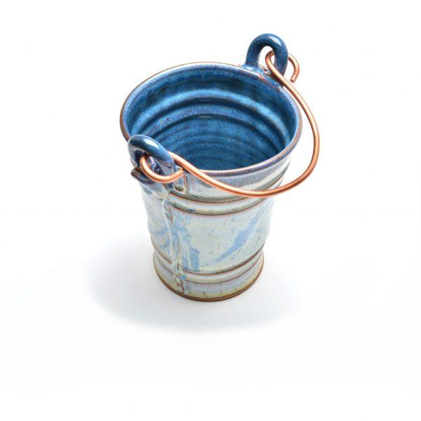 blue and white ceramic bucket, handmade kitchen decor, house warming gift handmade