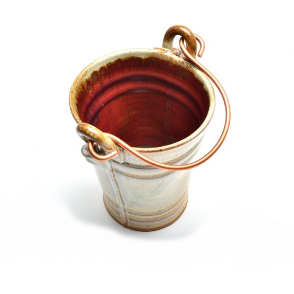 cream and red pottery bucket, handmade house warming gift, southern craft
