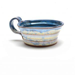 white and blue handmade soup mug, nc pottery, asheville clay artist