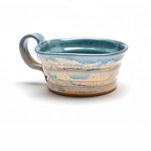 sage and cream soup mug, wheel thrown soup mug with handle