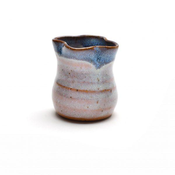 white and blue ceramic wheel thrown miniature, handmade toothpick holder