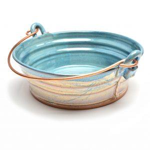 center piece, pottery serving bowl, unique serving bowl, handmade bucket