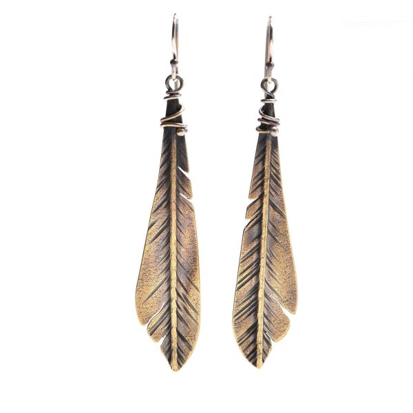 handmade feather earrings, bronze feathers, una barrett