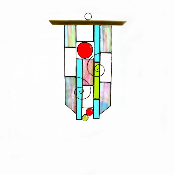 rainbow suncatcher, handmade stained glass, asheville stained glass,