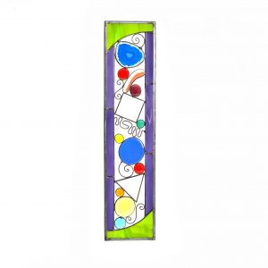 narrow whimsical stained glass suncatcher with geode