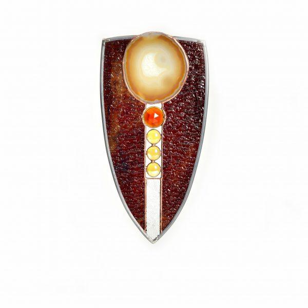 brown amber sheild shaped suncatcher with geode, unique suncatcher, window art, nc craft gallery, asheville glass artist,