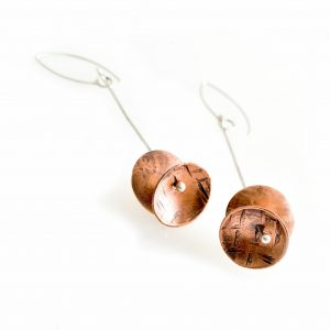 handcrafted copper long earrings, Julie Merril silver and copper earrings, asheville jeweler, asheville craft jewelry