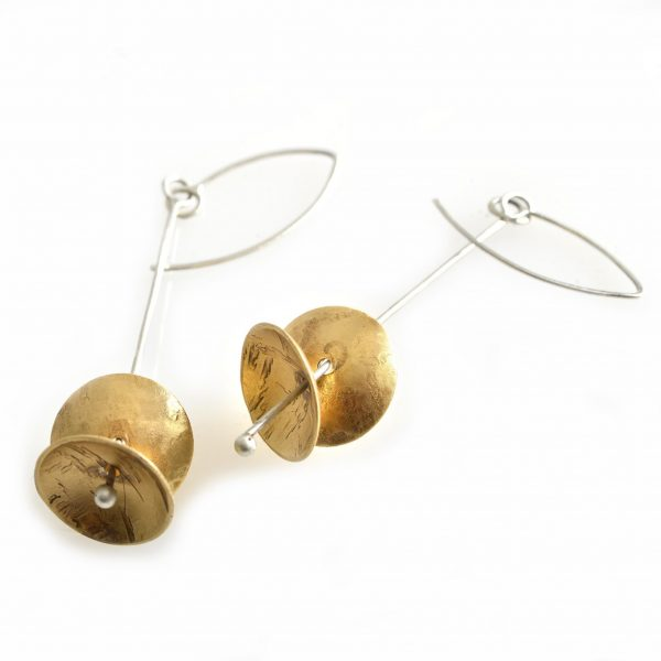 brass handmade bell earrings by Julie Merrill, long dangly handmade earrings