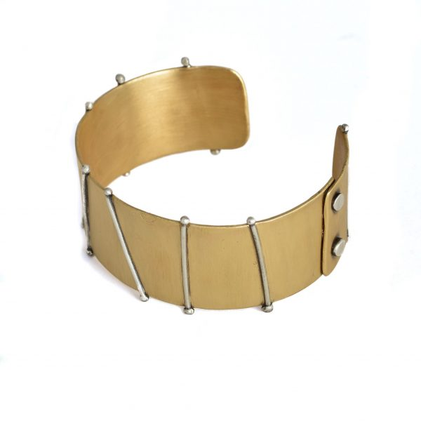 brass and silver handmade bracelet cuff, rivited jewelry bracelet