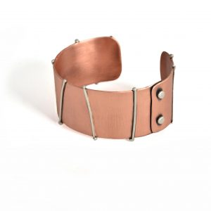 copper and sterling silver handmade cuff bracelet, affordable jewelry