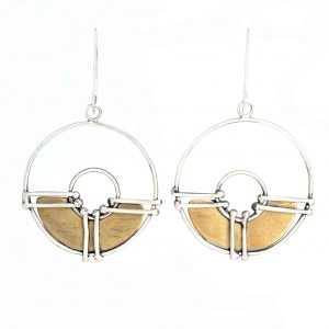 brass and silver round circles, silver hoop earrings, asheville handmade, new morning gallery, mora gallery asheville