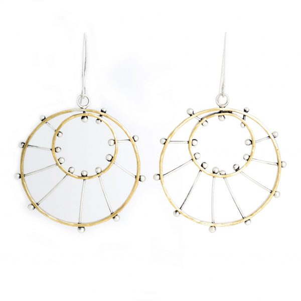 round earrings, brass and silver handmade earrings, asheville jewelry, asheville craft earrings