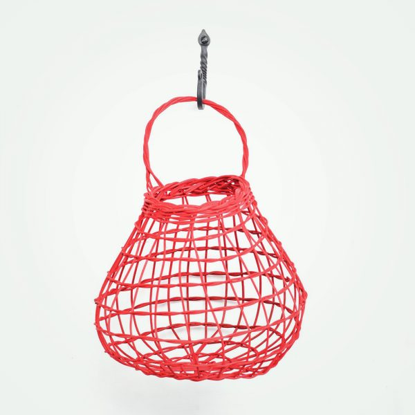 red handmade onion basket to hang on the wall