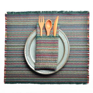 forest green handwoven multicolored placemats and napkins