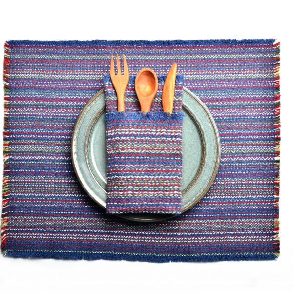 royal blue handwoven napkins and placemats