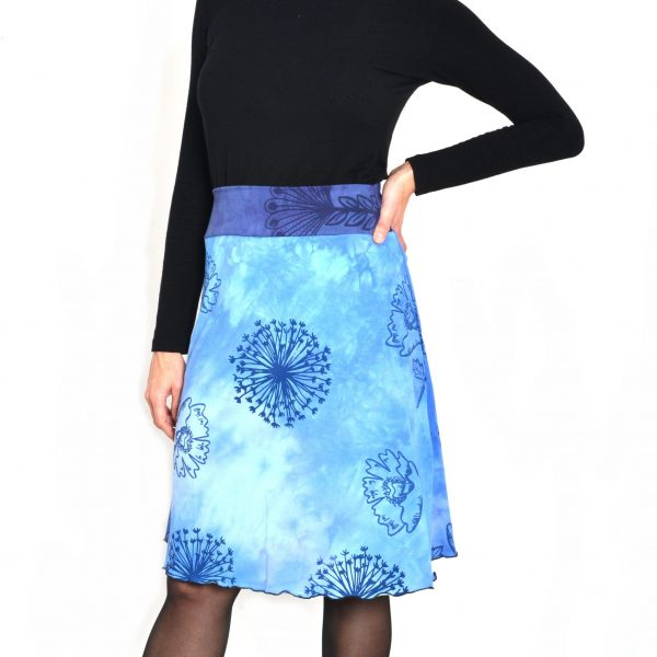 organic cotton hand dyed and hand printed blue skirt