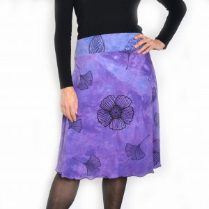 hand dyed and hand printed organic cotton skirt