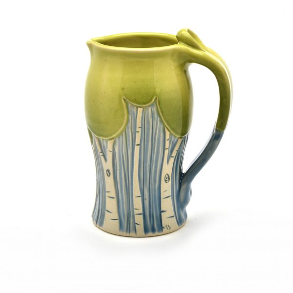 pitcher with tree decoration, seasons pitcher, handmade wheel thrown pitcher with carvings,