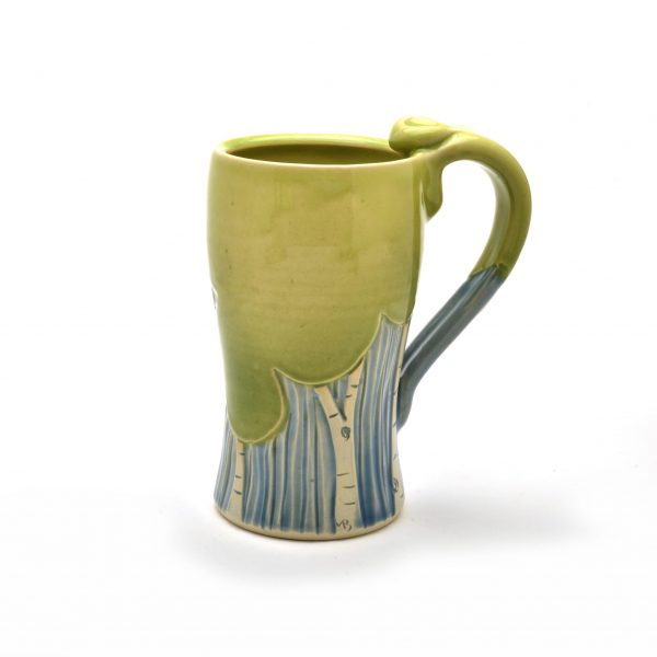 tree mug, handmade wheel thrown tall mug