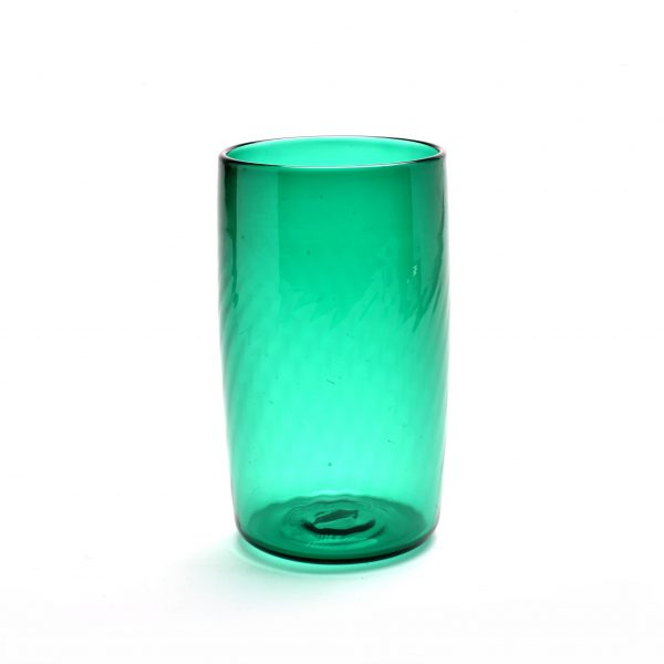 green glass, green pint glass, green glass tumbler, nc glass blowing, rob levin