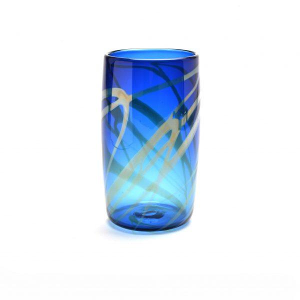 blue handmade glass pint glass, nc glass, penland glass artist, rob levin, glass blowing