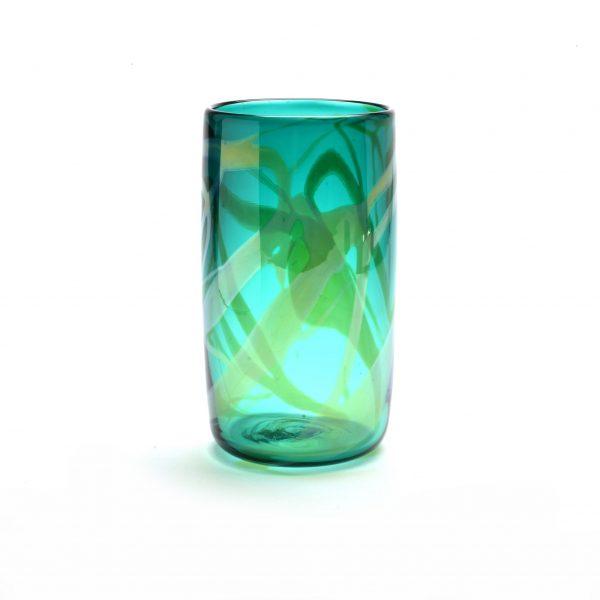 green handmade glass tumbler, asheville glass blowing, nc craft,