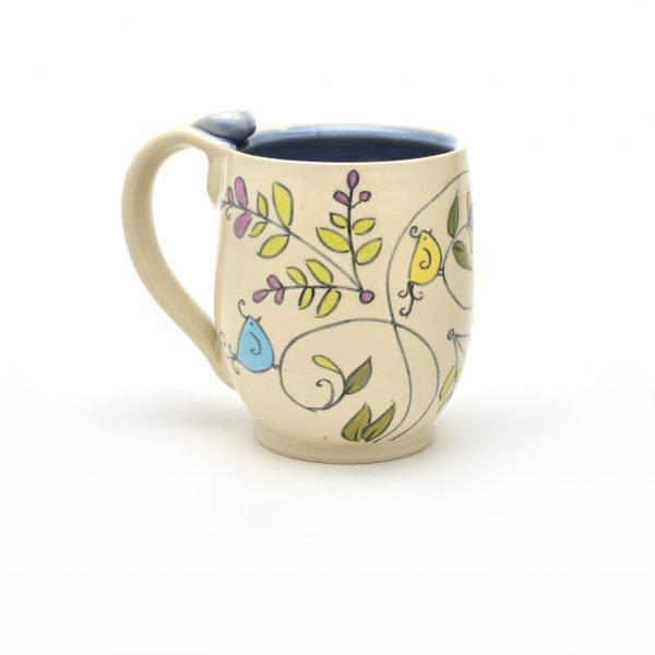 white handmade mug with tree painting, meghan bernard, handmade pottery, nc clay artist