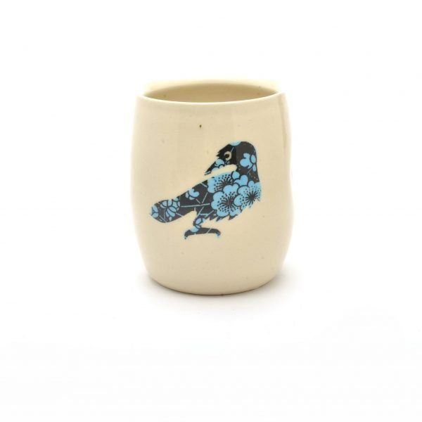 tumbler cup with crow raven decoration, handmade animal cup
