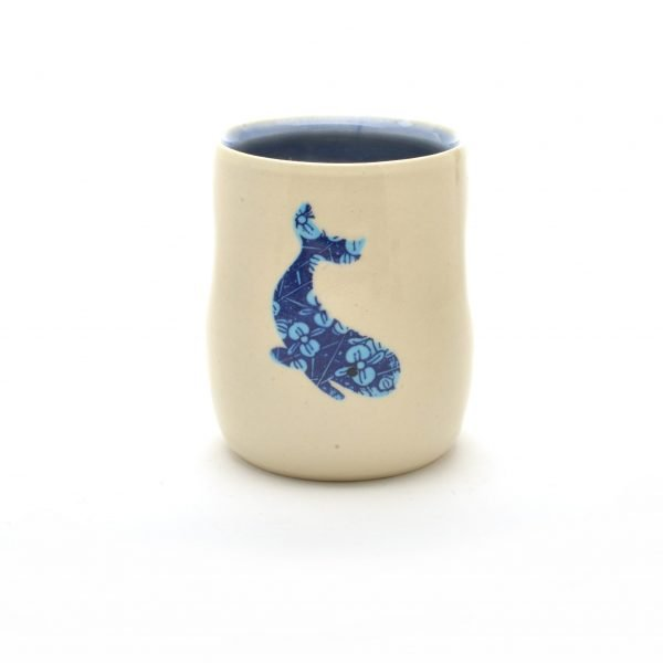 whale cup, wheel thrown white cup with whale decoration