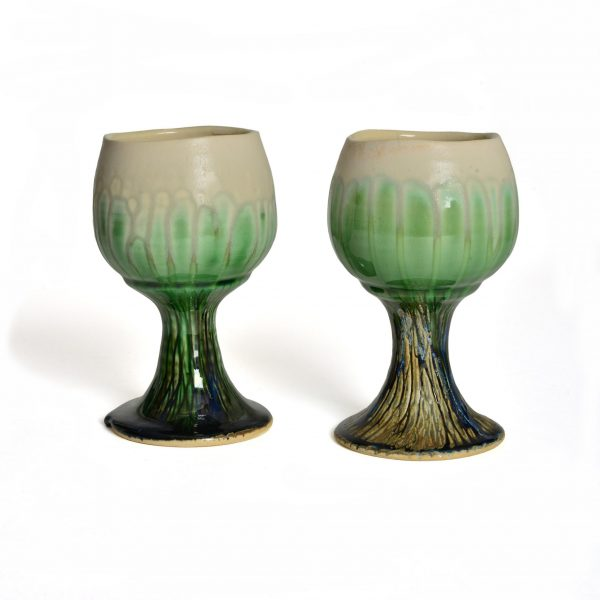 handmade ceramic wheel thrown tree goblets, unique goblets, handmade craft, nc clay