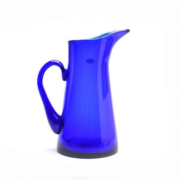handmade blue cobalt glass pitcher, large pitcher or vase, wv glass, blenko glass