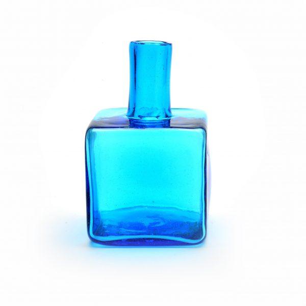 blue glass bud vase, handmade glass in wv, wv glass artist,