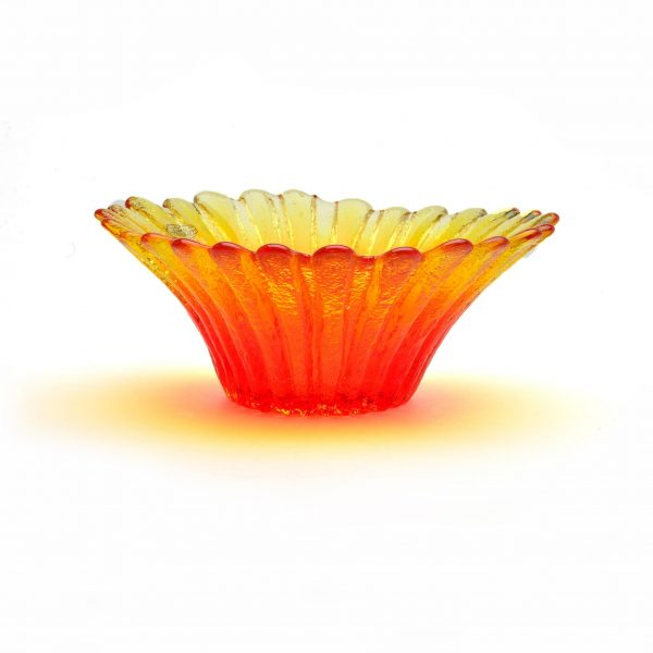 glass daisy orange yellow bowl, wv glass artist, west virginia glass blowing, southern craft, appalachain art,