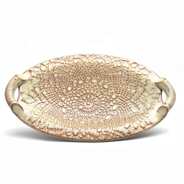 oval clay lace side dish