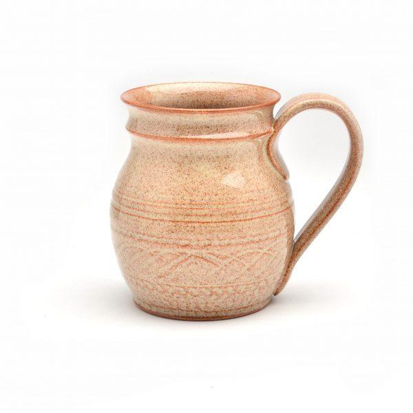 wheel thrown handmade mug, terra cotta colored handmade mug, mug sale, handmade pottery on sale, cheap pottery