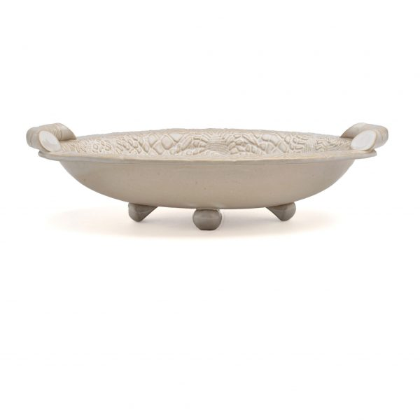 white lace oval bowl with foot and handles, cheap handmade pottery, pottery on sale, nc clay