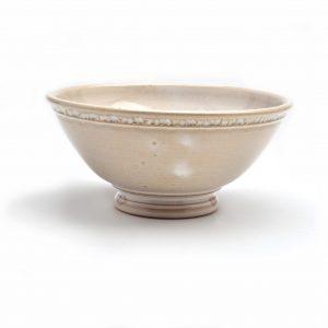 white wheel thrown bowl