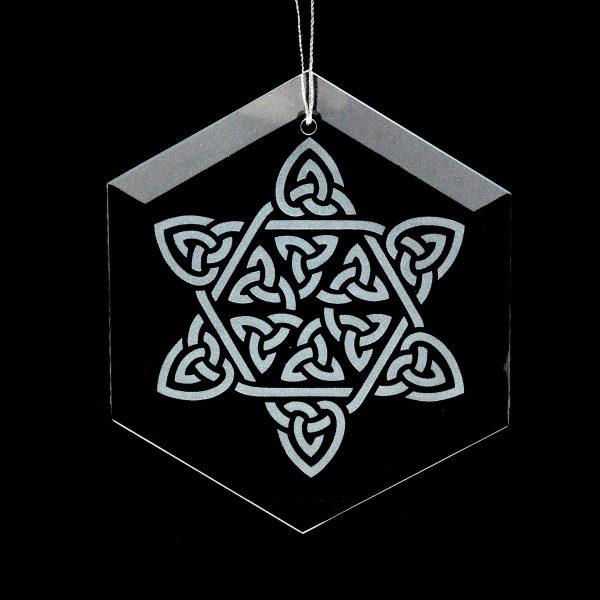 celtic gift, celtic star ornament, window glass,