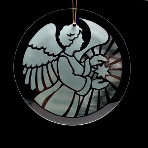 angel sandblasted christmas ornament, religious handcrafted ornament,